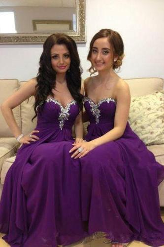 Rhinestone Sparkly Purple Bridesmaid Dress, Wedding Party Dress, Long Cheap Chiffon Bridesmaid Dress, Custom Elegant Bridesmaid Dresses, Elegant Bridesmaid Dress For Women