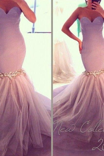 Mermaid Purple Wedding Dress, Satin Rhinestones Wedding Dress, Cheap Tulle Wedding Dress, Bridal Gowns 2016 Women