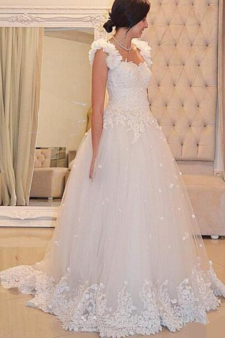 Cap Sleeve Wedding Dress, Ivory Wedding Dress, 3D Handmade Flower Wedding Dress, A Line Wedding Dress, Chapel Train Wedding Dress, Bridal Dresses 2016, Cheap Wedding Dress