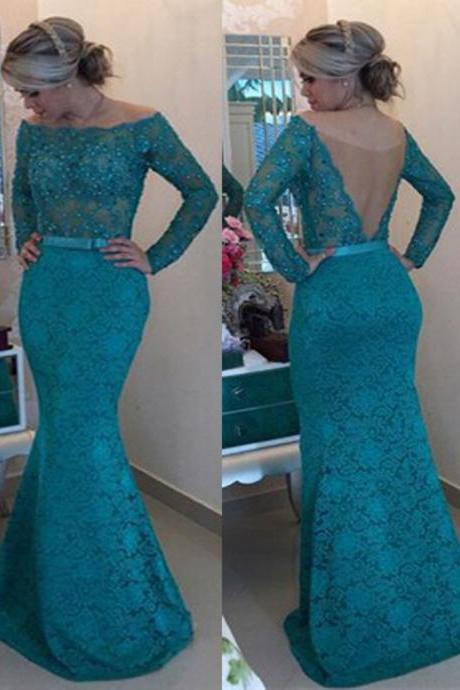 Lace Evening Dress, Mermaid Evening Dress, Turquoise Blue Evening Dress, Long Evening Dress, Sexy Evening Dress, Backless Formal Dress, Cheap Formal Dress, Long Sleeve Evening Dress
