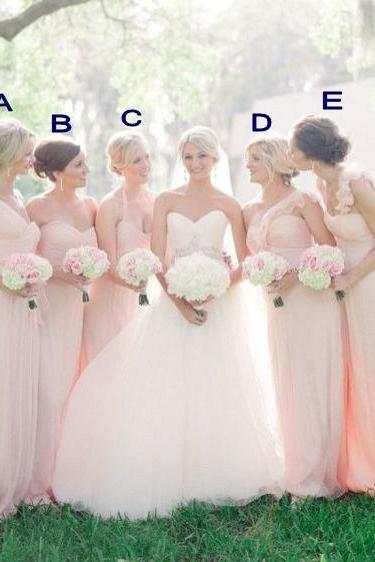 Mismatched Bridesmaid Dresses, Pink Bridesmaid Dresses, Chiffon Bridesmaid Dresses, Long Bridesmaid Dresses, Elegant Bridesmaid Dresses, Cheap Bridesmaid Dresses, 2017 Bridesmaid Dresses