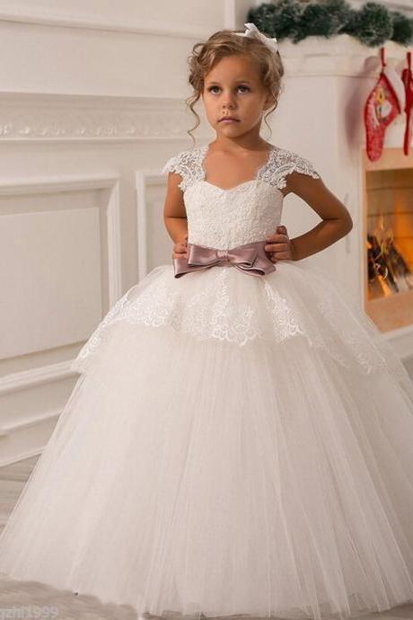 Tulle Flower Girl Dress, White Flower Girl Dress, Elegant Flower Girl Dress, Cheap Flower Girl Dress, Lace Flower Girl Dress, Toddler Little Girl Dresses, Flower Girl Dresses For Weddings