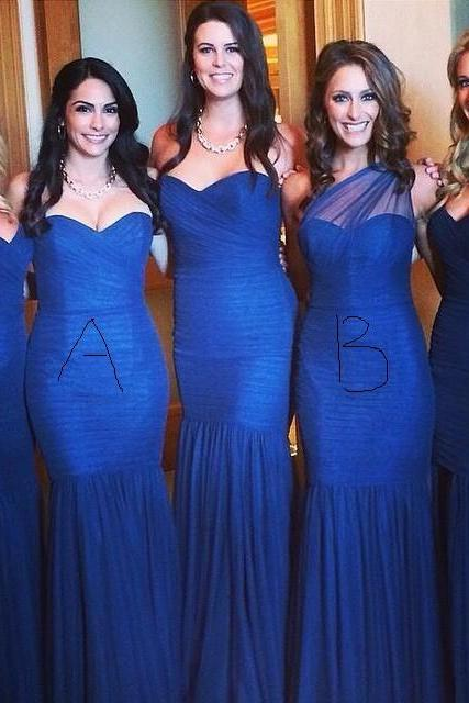 Royal Blue Bridesmaid Dress, Mermaid Bridesmaid Dress, Tulle Bridesmaid Dress, Long Bridesmaid Dress, Mismatched Bridesmaid Dress, Elegant Bridesmaid Dress, Sexy Bridesmaid Dress