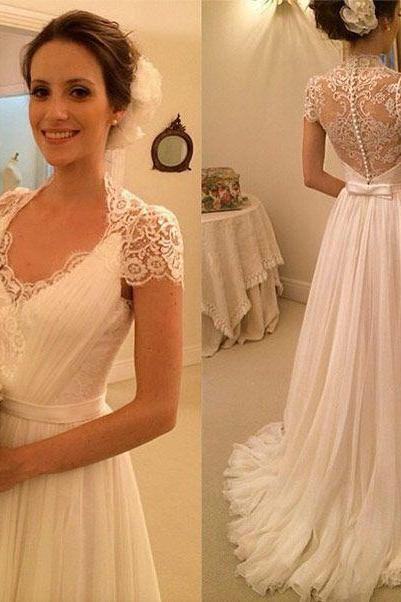 Cap Sleeve Wedding Dress, Chiffon Beach Wedding Dress, Lace Wedding Dress, Beach Wedding Dress, Elegant Wedding Dress, Floor Length Wedding Dress, 2017 Wedding Dresses