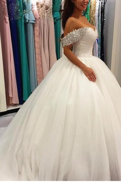 Rhinestones Wedding Dress, White Wedding Dress, Tulle Wedding Dress, Elegant Wedding Dress, Cheap Wedding Dress, Cap Sleeve Wedding Dress, 2017 Wedding Dress