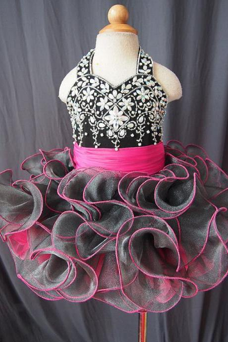 Glitz Pageant Little Girl Dresses, Toddler Little Girl Dresses, Kids Pageant Dresses, Rhinestones Kids Evening Gowns, Short Flower Girl Dresses, Interview Dresses For Little Girls