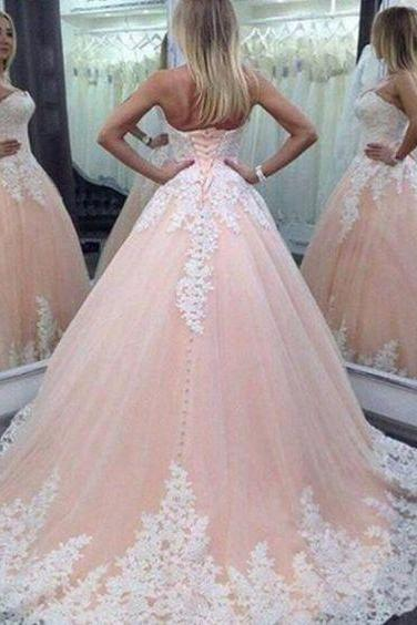 Pink Wedding Dress, Lace Applique Wedding Dress, Sweetheart Neck Wedding Dress, 2017 Wedding Dresses, Puffy Wedding Dress, Elegant Wedding Dress