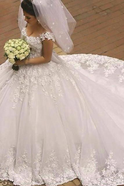 Lace Applique Wedding Dress, White Wedding Dress, Elegant Wedding Dress, Cap Sleeve Wedding Dress, Cheap Wedding Dress, 2017 New Arrival Wedding Dress