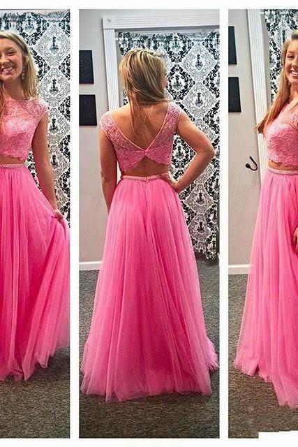 Pink Prom Dress, Elegant Prom Dress, Two Piece Prom Dresses, Lace Prom Dress, Tulle Prom Dress, Beading Prom Dress, Long Prom Dress, A Line Prom Dress, Senior Formal Dresses