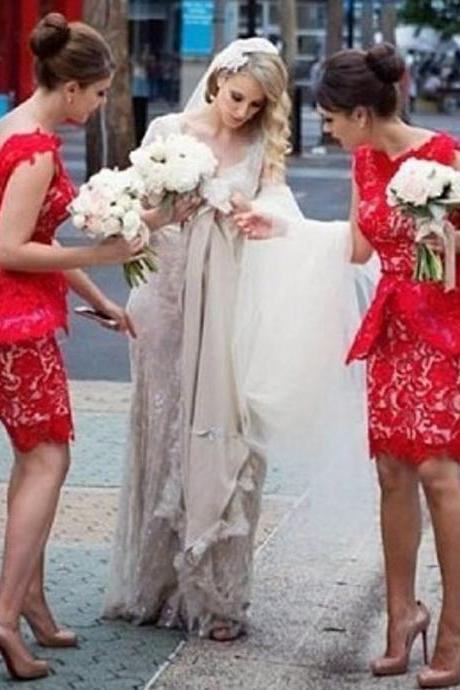 Red Bridesmaid Dress, Short Bridesmaid Dress, Mermaid Bridesmaid Dress, Lace Bridesmaid Dress, Cheap Bridesmaid Dress, Bridesmaid Dresses 2017, Maid Of Honor Dresses, Mother Of The Bride Dresses
