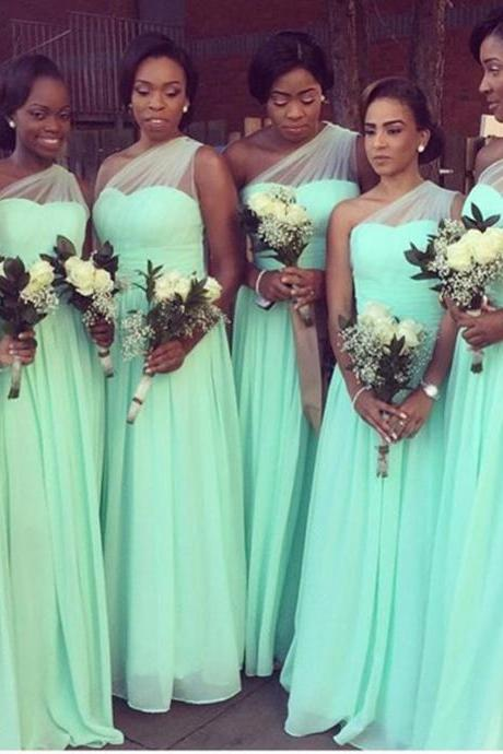 One Shoulder Bridesmaid Dress, Long Bridesmaid Dress, Mint Green Bridesmaid Dress, Chiffon Bridesmaid Dress, Elegant Bridesmaid Dress, A Line Bridesmaid Dress, Bridesmaid Dresses 2017