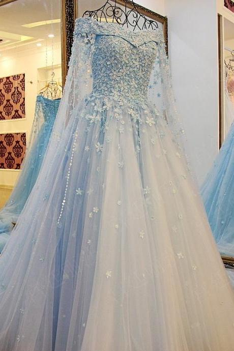 Blue Prom Dress, Modest Prom Dress, Beaded Prom Dress, Floral Prom Dress, Elegant Prom Dress, A Line Prom Dress, 2017 Prom Dresses, Floor Length Prom Dress