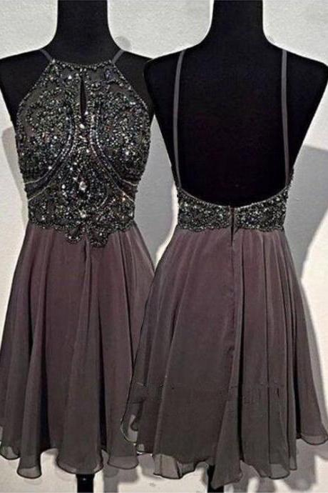 Short Prom Dress, Backless Prom Dress, Gray Prom Dress, Cheap Prom Dress, Sexy Prom Dress, Beading Prom Dress, 2017 Prom Dresses, Prom Gowns 2016