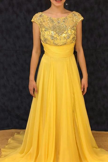 Yellow Prom Dress, A Line Prom Dress, Crystals Prom Dress, Elegant Prom Dress, Chiffon Prom Dress, Beading Prom Dress, Vestido De Festa