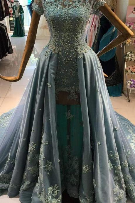 Dusty Blue Prom Dress, Tulle Prom Dress, Rhinestones Prom Dress, Elegant Prom Dress, Short Sleeve Prom Dress, Floor Length Prom Dress, Prom Dresses 2017, Cheap Graduation Dresses
