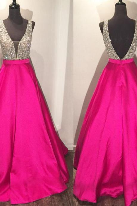 A Line Prom Dress, Satin Prom Dress, Hot Pink Prom Dress, Beaded Prom Dress, Elegant Prom Dress, V Neck Prom Dress, Prom Dresses 2017, Real Photo Prom Dress