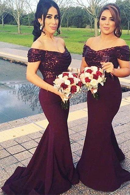 Mermaid Bridesmaid Dress, Sequins Bridesmaid Dress, Wine Red Bridesmaid Dress, Long Bridesmaid Dress, Cheap Bridesmaid Dress, Satin Bridesmaid Dress, Bridesmaid Dresses 2017, Wedding Party Dresses