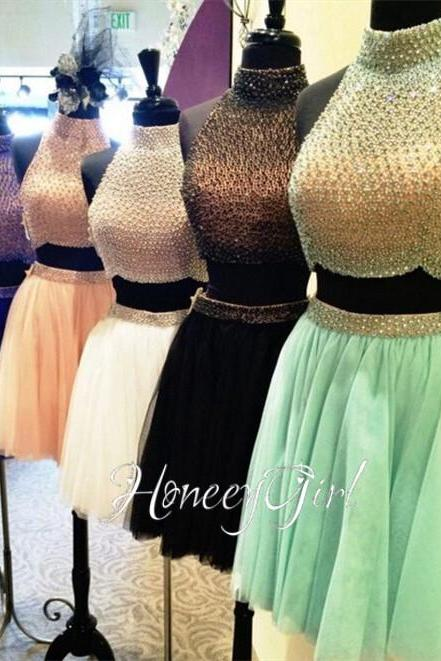 Short Homecoming Dress, Mint Green Homecoming Dress, High Neck Homecoming Dress, Beads Homecoming Dress, A Line Homecoming Dress, Homecoming Dresses 2017, Cheap Graduation Dresses