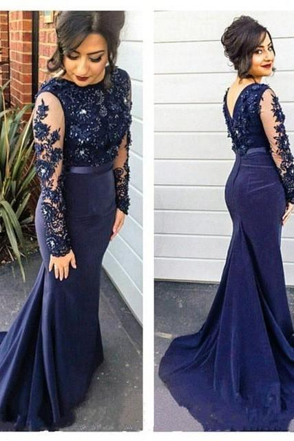 Mermaid Evening Dress, Rhinestone Evening Dress, Satin Evening Dress, Navy Blue Evening Dress, Long Sleeve Evening Dress, Cheap Evening Dress, Custom Make Evening Dress, Formal Party Dress, Evening Dress 2017
