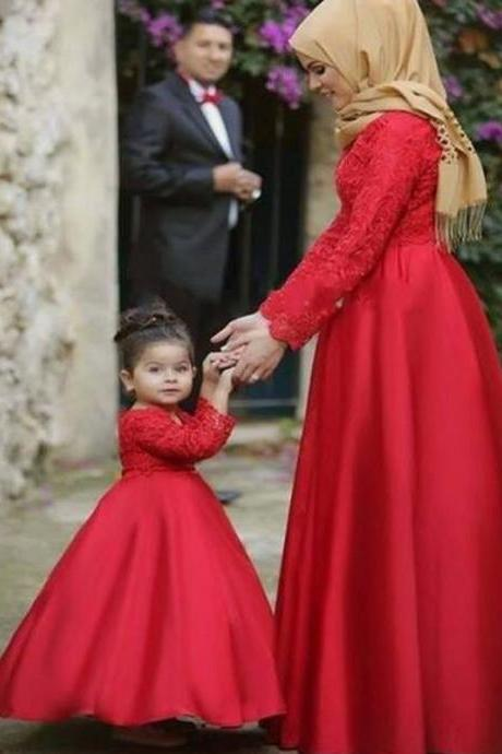 Mother Daughter Matching Dresses, Satin Prom Dresses, Red Prom Dresses, Long Sleeve Prom Dresses, Elegant Prom Dresses, A Line Prom Dresses, Cheap Prom Dresses, Prom Dresses 2017