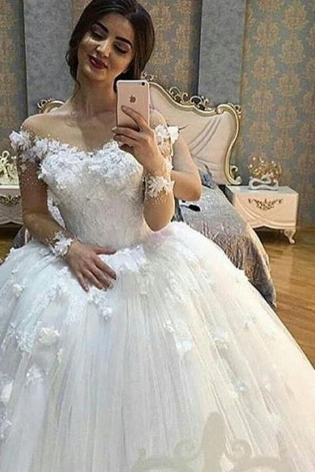 Saudi Arabic Wedding Ball Gown, 3D Flowers Wedding Dress, Ivory Wedding Dress, Elegant Wedding Dress, Cheap Wedding Dress, 2017 Bridal Ball Gowns, Wedding Dresses 2017, Lace Wedding Dress