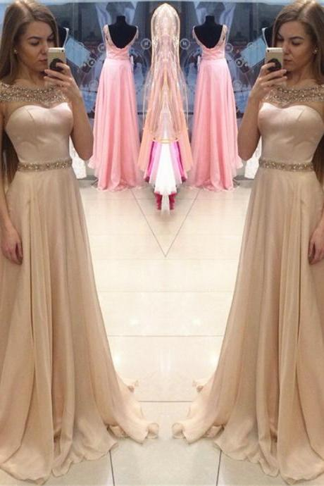 Champagne Prom Dresses, Floor Length Prom Dresses, Long Prom Dresses, Elegant Prom Dress, Satin Prom Dress, Chiffon Prom Dress, Prom Dresses 2017, Cap Sleeve Prom Dress, Evening Dresses Women, Formal Party Dresses