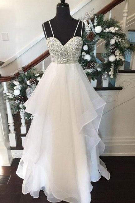 White Prom Dress, Crystals Prom Dress, Tiered Prom Dress, Sexy Prom Dress, Spaghetti Straps Prom Dresses, Long Prom Dresses, Backless Prom Dress, Elegant Prom Dress, Prom Dresses 2017, Formal Party Dresses, Sparkly Prom Dress