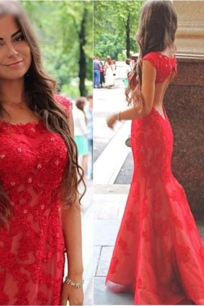 Mermaid Evening Dress, Red Evening Dress, Long Evening Dress, Cheap Evening Dress, Lace Evening Dress, Custom Evening Dress, Elegant Evening Dress, Formal Party Dresses, Cap Sleeve Evening Dress, Rhinestones Evening Dress