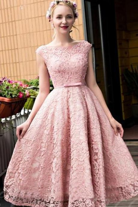 Short Prom Dress, Pink Prom Dress, Lace Prom Dress, Cheap Prom Dress, Elegant Prom Dress, Cap Sleeve Prom Dress, A Line Prom Dress, Prom Dresses 2017, Vintage Prom Dress, Cocktail Party Dresses