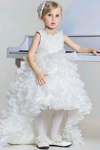 High Low Kids Prom Dress, White Flower Girl Dress, Lace Flower Girl Dress, Kids Dresses For Wedding , Organza Flower Girl Dress, Tiered Kids Prom Gown, Pageant Little Girl Dresses 2017