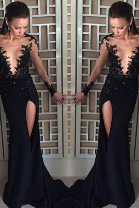 Sexy Prom Dress, Black Prom Dress, Deep V Neck Prom Dress, Side Slit Prom Dress, Prom Dresses 2017, Lace Applique Prom Dress, Elegant Prom Dress, Long Sleeve Prom Dress, Beaded Prom Dress, Women Formal Party Dresses
