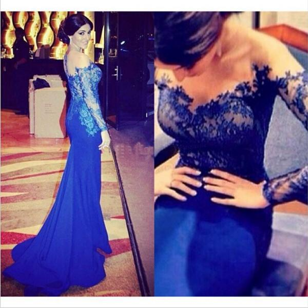 Royal Blue Evening Dress, Lace Evening Dress, Long Sleeve Evening Dress, Mermaid Evening Dress, Evening Dresses 2017, Cheap Evening Dress, Elegant Evening Dress, Formal Party Dresses
