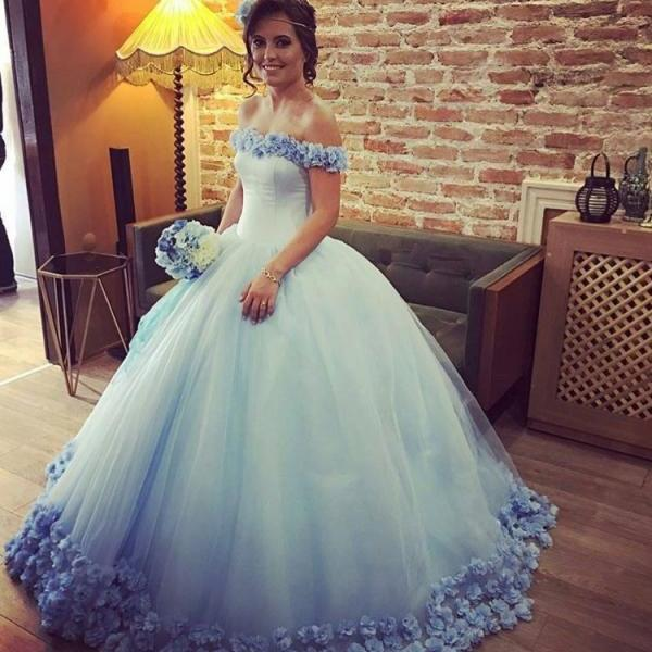 Blue Wedding Dress, Floral Wedding Dress, Wedding Ball Gown, Saudi Arabic Wedding Dress, Off the Shoulder Wedding Dress, Cheap Wedding Dress, Wedding Dresses 2018, Vestido De Novia, Elegant Wedding Dress, Tulle Wedding Dress