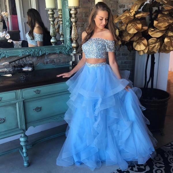 Blue Prom Dress, Beaded Prom Dress, 2 Piece Prom Dresses, Off the Shoulder Prom Dress, Elegant Prom Dress, Tulle Prom Dress, Cheap Prom Dress, Prom Dresses 2018, Vestido De Festa, Women Formal Dress
