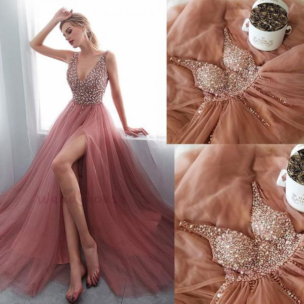 Dusty Pink Prom Dresses Long Deep V Neck Beaded Sexy Prom Gown Robe De Soiree 2019
