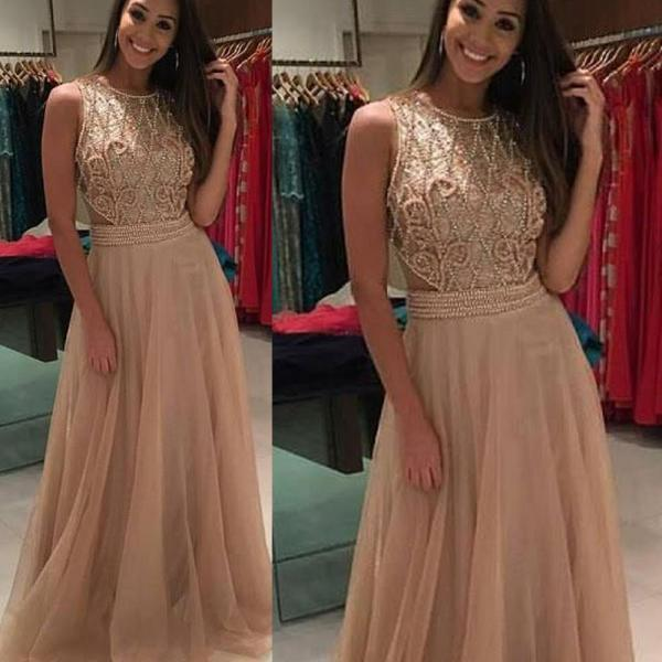 O Neck Champagne Prom Dresses Long Sleeveless Beaded Lace A Line Prom Gown Vestido De Festa