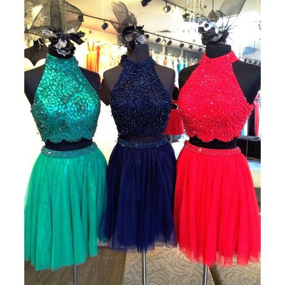 Two Piece Prom Dresses Short Beaded A Line Tulle Cheap Prom Gown Cocktail Party Dresses 2019