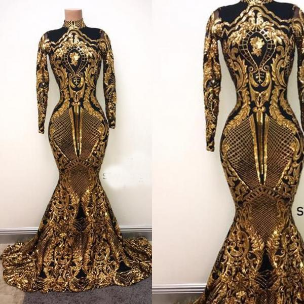 Luxury Black and Gold Evening Dresses 2019 High Neck Mermaid Sequin Applique Evening Gown Long Formal Dress