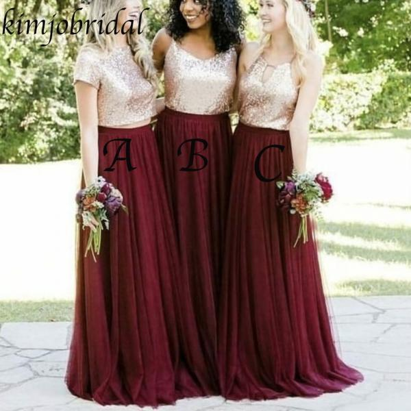 Short Sleeve Gold Sequin Bridesmaid Dresses Long 2019 Cheap Custom Burgundy Wedding Party Dress