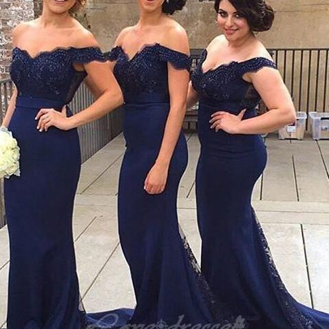 Navy Blue Long Mermaid Bridesmaid Dresses, Lace Beaded Cheap ...
