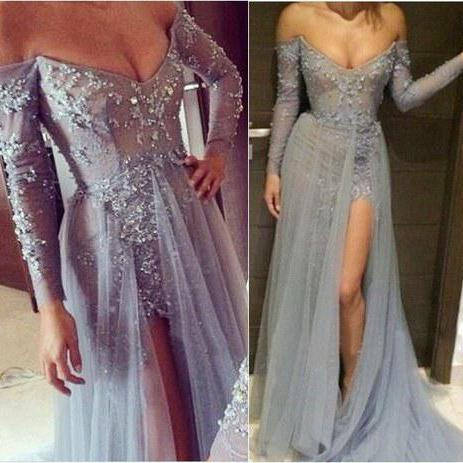 Silver Gray Sexy Formal Dress, Lace Sequined V Neck Evening Dress, Tulle Long Sleeve Evening Dress, Detachable Cheap Rhinestones Evening Dress, Evening Gowns 2016