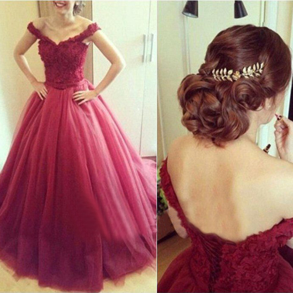 Wine Red Lace Wedding Dress, Cap Sleeve Elegant Wedding Dress, Burgundy Wedding Ball Gown, Sweet 16 Dresses, Cheap Bridal Dresses 2016, V Neck Bridal Gowns
