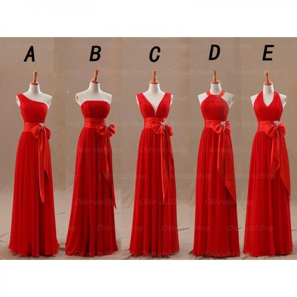 Red Chiffon Mismatched Bridesmaid Dresses, Long Cheap Simple Custom Bridesmaid Dresses, 2016 Fitted Elegant Bridesmaid Dresses, Wedding Party Dresses, Wedding Guest Dresses