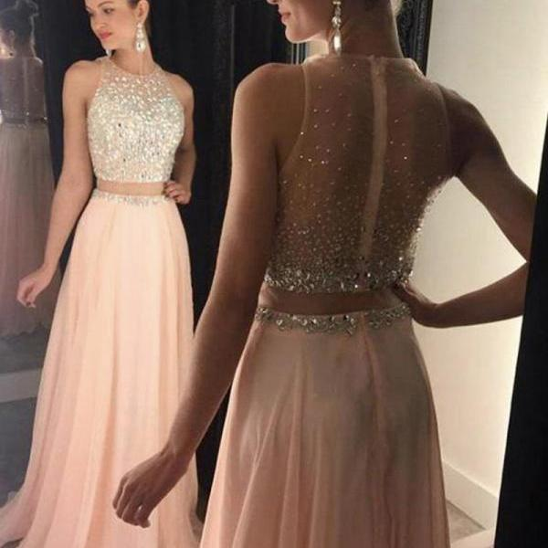 Two Piece Prom Dresses, Crystals Prom Dress, Blush Pink Prom Dress, Sheer Back Prom Dress, A Line Prom Dresses, Chiffon Prom Dress, Sexy Formal Dress, Cheap Formal Dresses