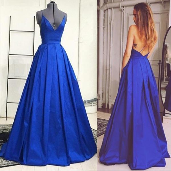 Sexy Prom Dress, Backless Prom Dress, A Line Prom Dress, Satin Prom Dress, Royal Blue Prom Dress, Elegant Prom Dress, Real Photo Prom Dress, Vestido De Longo, 2016 Prom Dresses