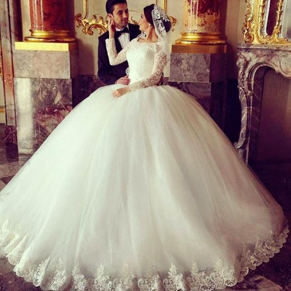 Ivory Wedding Dress, Long Sleeve Wedding Dress, Wedding Ball Gown, Tulle Wedding Dress, Lace Wedding Dress, Cheap Bridal Ball Gowns, Elegant Wedding Dress, 2017 Wedding Dress