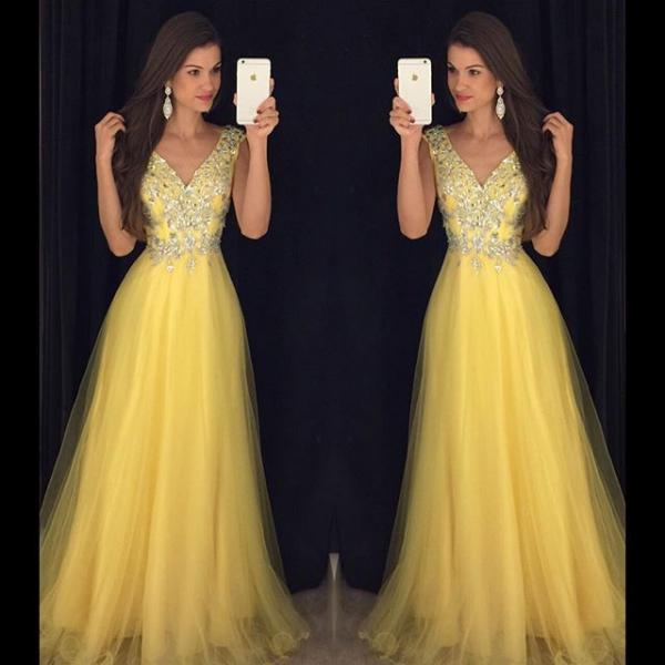 V Neck Prom Dress, Yellow Prom Dress, Tulle Prom Dress, Floor Length Prom Dress, Crystals Prom Dress, Elegant Prom Dress, 2017 Prom Dress, Women Formal Dress