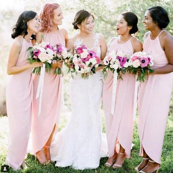 Pink Bridesmaid Dress, Halter Bridesmaid Dress, Chiffon Bridesmaid Dress, Long Bridesmaid Dress, Cheap Bridesmaid Dress, Backless Formal Dress, Bridesmaid Dresses Long