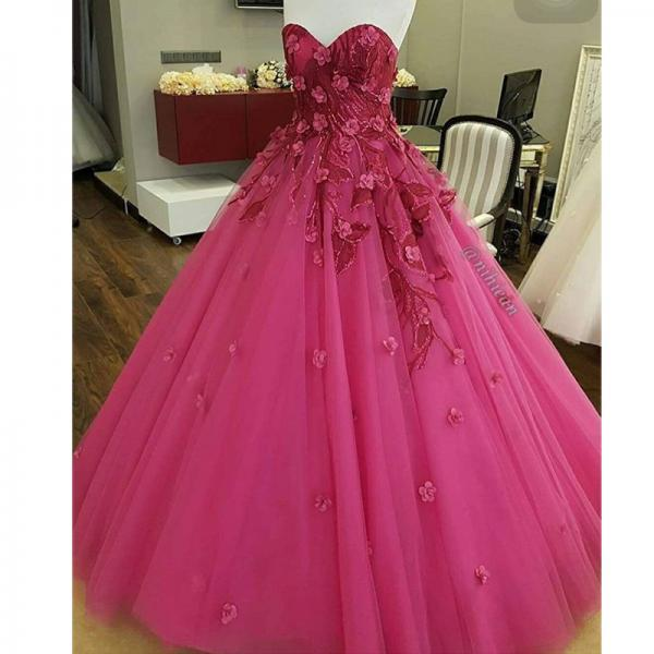 Pink Prom Dress, Handmade Flower Prom Dress, A Line Prom Dress, Tulle Prom Dress, Sweetheart Neckline Prom Dress, Elegant Prom Dress, Floor Length Prom Dress, 2017 New Arrival Prom Gown