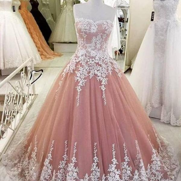 Tulle Prom Dress, Dusty Pink Prom Dress, Elegant Prom Dress, Lace Applique Prom Dress, Prom Dresses 2017, Cheap Prom Dress, A Line Prom Dress, Evening Dresses 2017, Party Dresses